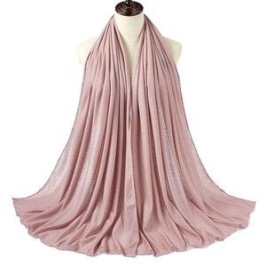 Image 4 - 10 יח\חבילה נשים רזי המוסלמית חיג אב צעיף צעיף Femme גודל בתוספת Hijabs האסלאמי צעיפי Soild מודאלי מטפחת לנשים