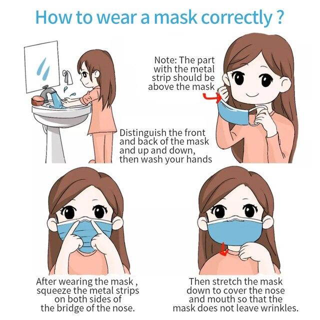 50 Pcs Disposable Medical Face Mask 3 Layers Anti Dust Mask Surgical Mouth Korean 100pcs 마스크 Masquerade Flu Face Masks 5