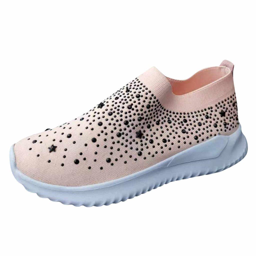 Vrouwen Dames Enkel Platte Bodem Schoenen Vrouw Ondiepe Loafers Crystal Fashion Bling Sneakers Casual Winter Schoenen Dropshipping