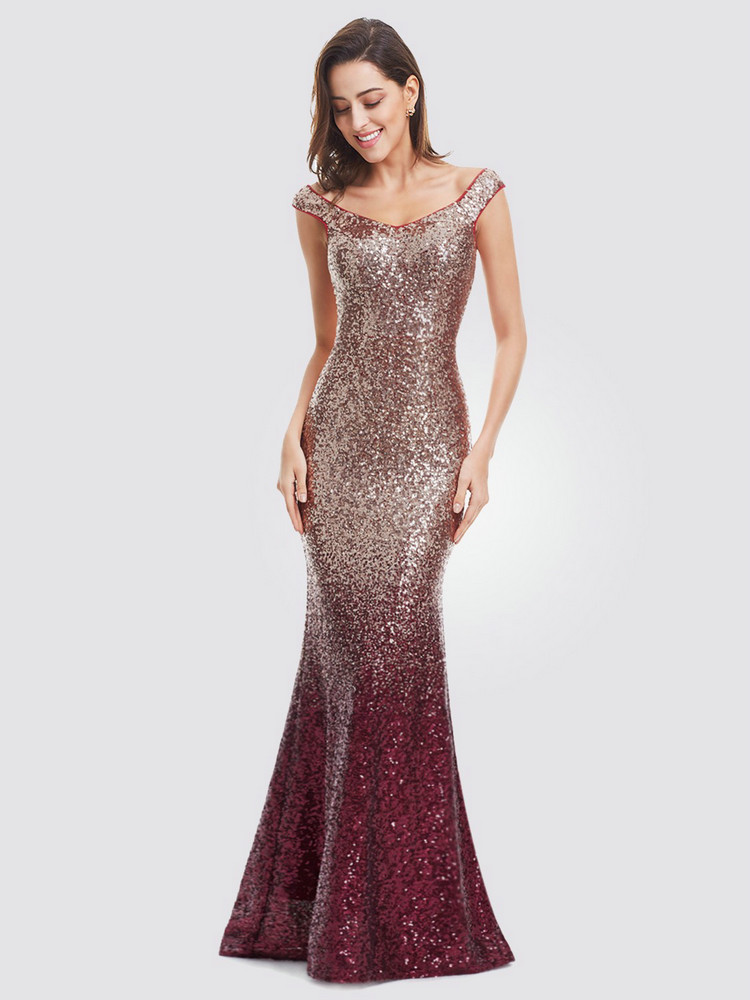 Party-Gowns Evening-Dresses Robe-De-Soiree Ever-Pretty Sequined Burgundy Little-Mermaid