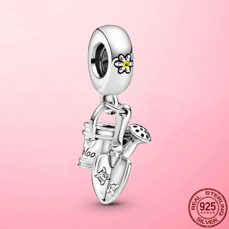 Spring New 925 Sterling Silver Garden Watering Can Trowel Dangle Charm Beads fit Original Pandora Bracelet Necklace DIY Jewelry