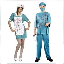 Платье на Хэллоуин для женщин костюм День мертвых страшная форма доктора медсестры кровавая Хирургическая Одежда для мужчин ужас карнавал необычные