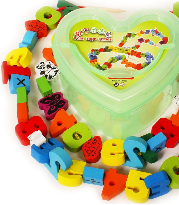 Educational Wooden Toys Bead Toy Lettered With Numbers Arithmetic String Music Toy