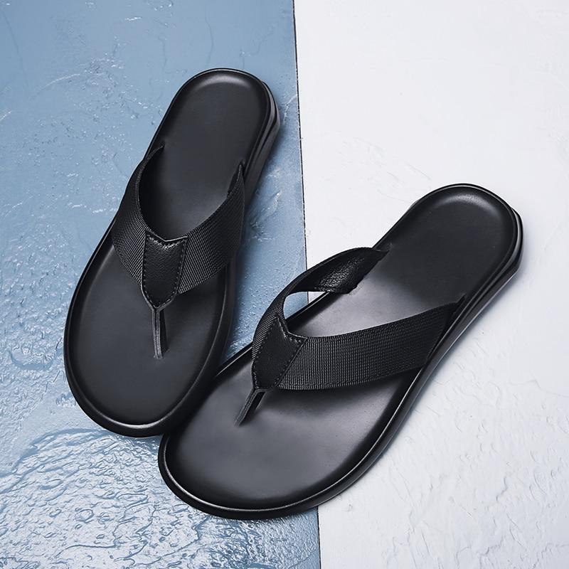 Summer Casual Flip-flops Men's Genuine Leather Flip-flop Soft Bottom Anti-slip Sandals Outdoor Men Slippers Beach Slippers