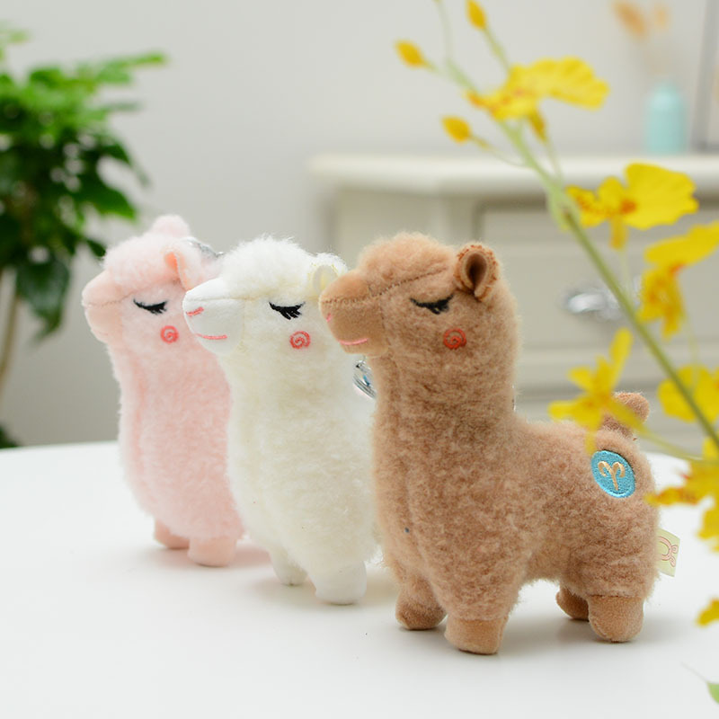 Cute Mini Alpaca Doll Smiling Alpaca Soft Cotton Animal Plush Stuffed Doll Toys Lovely Alpaca Keychain Kids Girls Birthday Gift