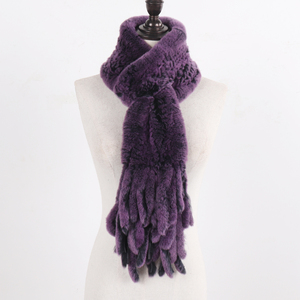 Image 4 - New LadyถักRexกระต่ายFur Tasselผ้าพันคอผู้หญิงฤดูหนาวWarm Natural Rexกระต่ายขนผ้าพันคอหนาถักจริงผ้าพันคอขนสัตว์