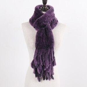 Image 4 - Nouvelle dame tricoté réel Rex fourrure de lapin gland écharpes femmes hiver chaud naturel Rex fourrure de lapin silencieux épais tricot véritable fourrure écharpe