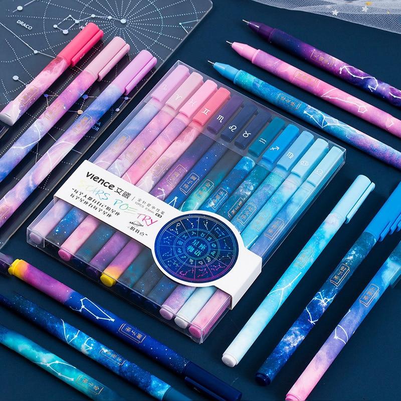 12pcs Constellation Gel Pen Set 0.5mm Starry Black Ink Pen for Girl Gift Stationery Office School Writing Supplies Kawaii Pen