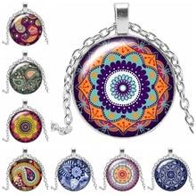 Hot 2019 New Mandala Sacred Geometry Kaleidoscope Glass Cabochon Pendant Necklace Classic Clothing Accessories Jewelry