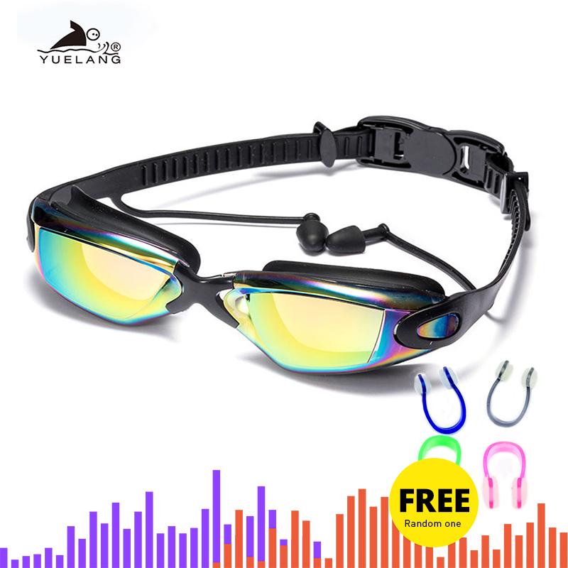 Swimming Goggles Earplugs Nose-Clip Electroplate Professional Silicone Waterproof