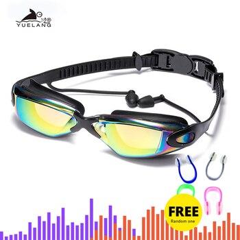 Lunettes de natation professionnelles lunettes de natation avec bouchons d'oreilles pince-nez galvanoplastie Silicone imperméable 1