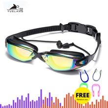 цена на Professional Swimming Goggles swimming glasses with earplugs Nose clip Electroplate Waterproof Silicone очки для плавания adluts