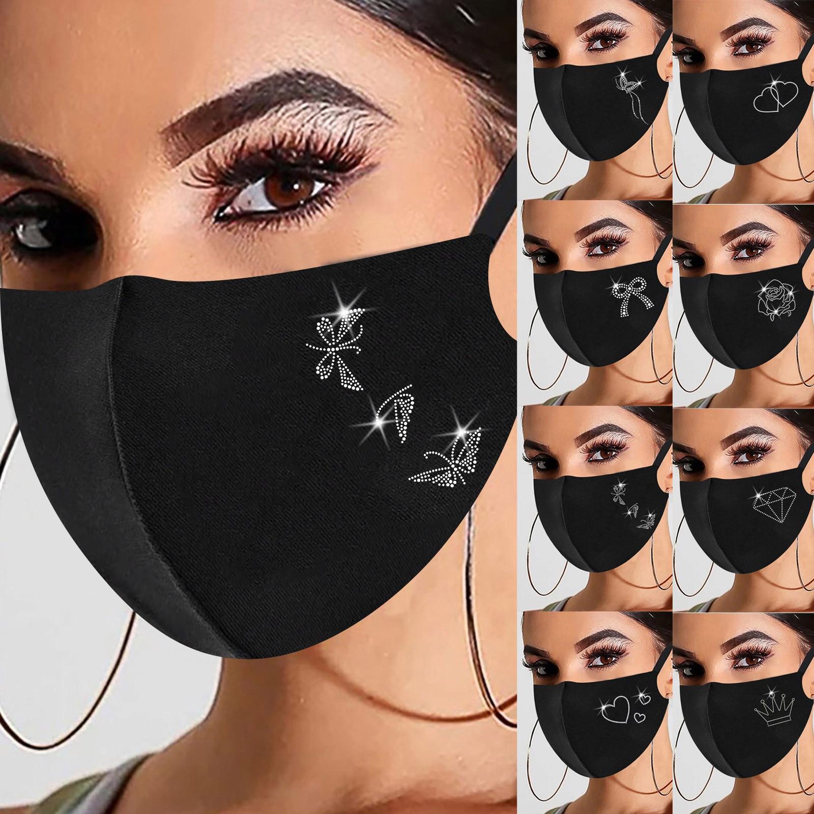 1pc Preto Máscara de Natal Para As Mulheres Na Moda Hot Diamante Impressão de Algodão Máscara Máscaras Маски От Вирусов Dropshipping 1