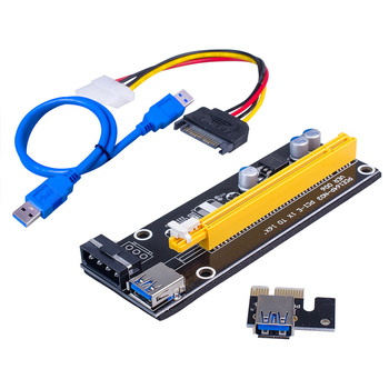 006 PCI-E Riser Card USB 3.0 Riser Express 1X 4x 8x 16x Extender Adapter SATA 15pin to 4pin Power Cable for BTC Mining Miner