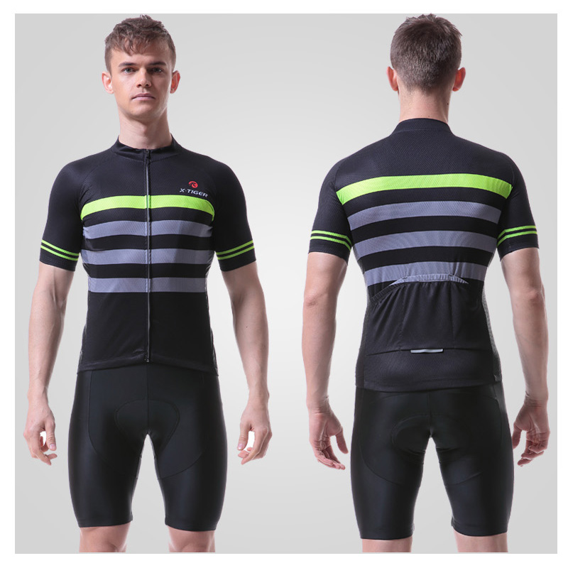 X-Tiger Cycling-Clothing-Set Jerset-Set Summer Gel-Padded Anti-Pilling Men with Coolmax