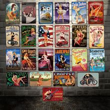 [ WellCraft ] Pin up Sexy Retro Tin Sign Posters art Vintage Mural Painting Custom Decor LT-1767
