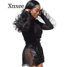 Women autumn Mesh Patchwork Ruffle Blouse Long Sleeve Shirts Streetwear Korean Style Women Plus Size Tops and Blouses Clothing