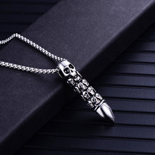 Titanium Steel Men Bullet Necklace Fashion Pendant Stainless Steel Skull Necklace Pendant Creative Accessories(China)
