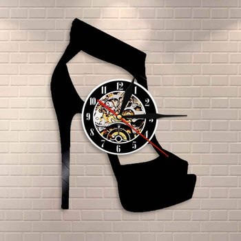 Classic Black High Heel Design Wall Clock Fashion Wall Art Shoes Store Business Sign Wall Art Vinyl Record Wall Clock Lady Gifts image