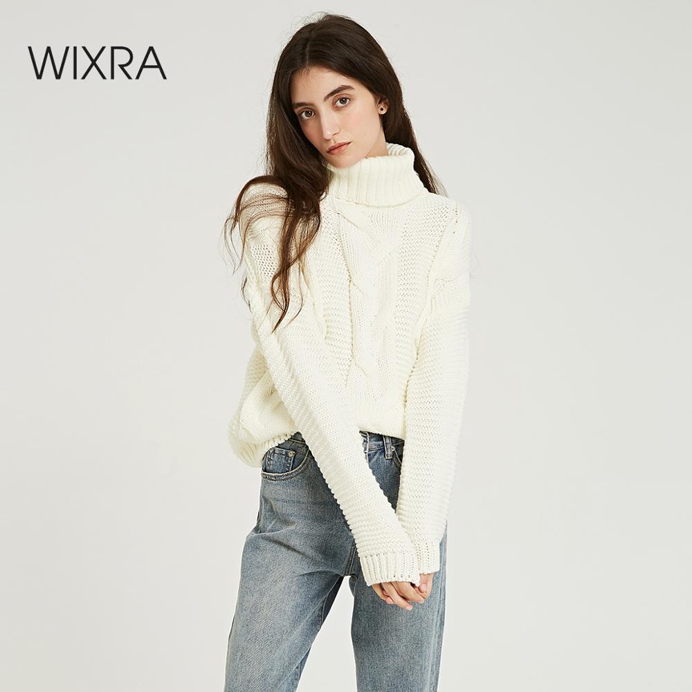 Wixra solide chandails 2019 automne hiver femme col roulé chaud épais dames tricoté pull pulls femmes pulls
