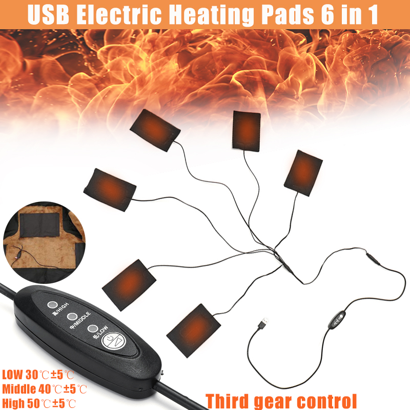 Usb Electric Heating Pad 5v 12v With 3 Gear Adjustable Temperature Carbon Fiber Warmer Pad For Cloth Vest Jacket