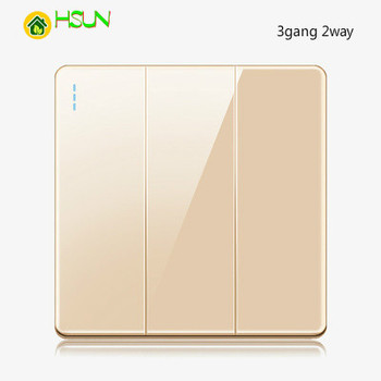 High-grade 1 2 3 4 gang 1 2 way big panel Golden switch socket Type 86 Wall 2.5D Cambered Mirror Toughened glass Computer TV 12