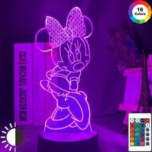 Lindo Minnie figura de ratón Led 3d luz de noche Sensor táctil de niño niños dormitorio luz Mesa genial 3d lámpara para Navidad regalo