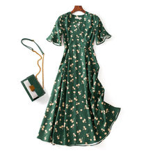 Summer Vintage Green Print Back Tie Chiffon V-neck Short-Sleeve Slim Long Midi wrap Tea Dress Casual 2021