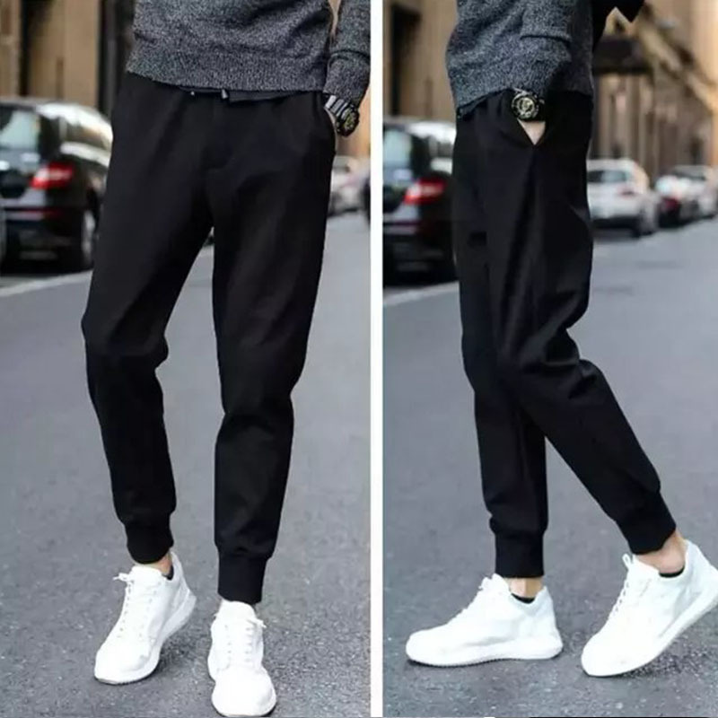 MEN'S Casual Pants MEN'S Trousers Japanese-style Harem Pants Ankle Banded Pants Young MEN'S Loose-Fit Skinny Pants Black And Whi