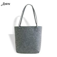 2019 Grey Felt Women Handbag Creative Lady Tote Solid Hand made Bag