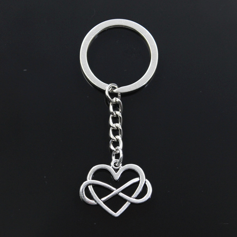 New Keychain 22x27mm Heart Infinity Love Forever Pendants DIY Men Car Key Chain Ring Holder Keyring Souvenir Jewelry Gift