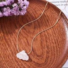 Koreańska wersja nowej małej świeżej białej chmury naszyjnik kobiet kreatywnych prosty naszyjnik kreskówka krótki łańcuszek na obojczyk prezent