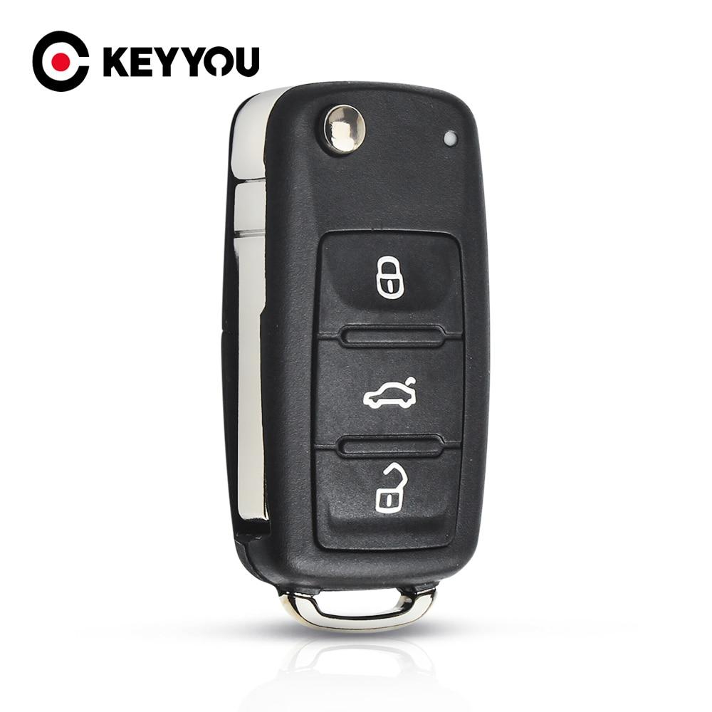 KEYYOU NEW 3 Button Flip Fob Remote Folding Key Shell for VW VOLKSWAGEN Tiguan Golf Sagitar Polo MK6 Uncut Blade Fob