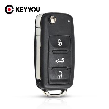 KEYYOU nowy 3 przycisk Flip Fob składana obudowa do kluczyka samochodowego dla VW VOLKSWAGEN Tiguan Golf Sagitar Polo MK6 Uncut Blade Fob tanie i dobre opinie for VW abs platic CHINA