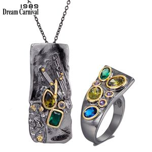 DreamCarnival1989 Brand Original Rectanglar Ring and Necklace Set Gothic Design Colorful Zirconia Women Fashion Jewelry PR6678S2