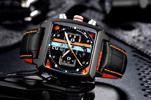 Automatic Self Wind Mechanical Genuine Leather Stainless Steel Black Orange Blue Casual Perspective See Through Men Watch 4
