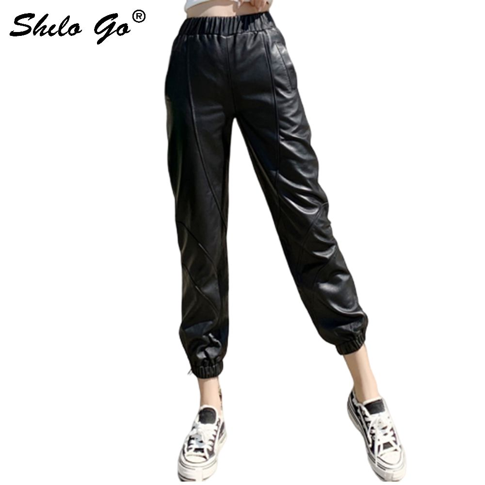 Genuine Leather Pants Black Minimalist Elastic Waist Sheepskin Harem Pants Women Autumn Winter Casual High Waist Solid Trousers