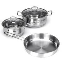 3PCS/Set Thicken Stainless Steel Cooking Soup Pot Nonstick Frying Pan Saucepan With Glass Lid For Induction Cooker Gas Stove