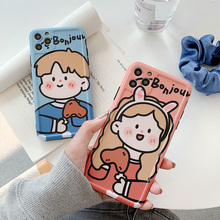 iphone11pro max card phone case is suitable for apple iphone11 6 1 inch anti fall protective sleeve Cute cartoon version couple avatar phone case for iPhone 6 6s 7 8 Plus Anti-fall silicone for iPhone11 Pro MAX X XS MAX XR Cover