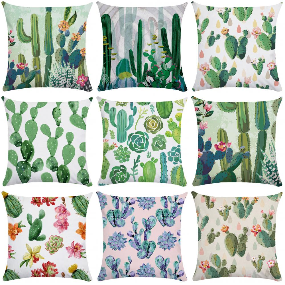 Nordic Hand Painted Cactus Pillow Cover Soft Pillow Case Plush Pillowcase Pillow 45x45 Throw Pillowslip for Bedroom Home Decore