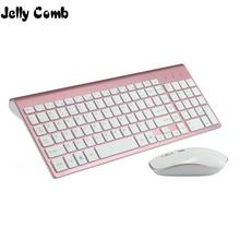 Jelly Comb teclado y ratón inalámbricos para ordenador portátil y PC, 2,4G, tamaño completo, 102 teclas, USB, poco ruido