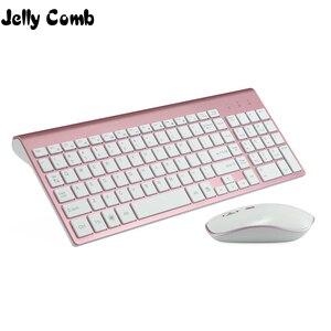 Image 1 - Jelly comb 2.4g sem fio teclado e mouse pente tamanho completo 102 teclas de baixo ruído usb teclado sem fio mouse para computador portátil