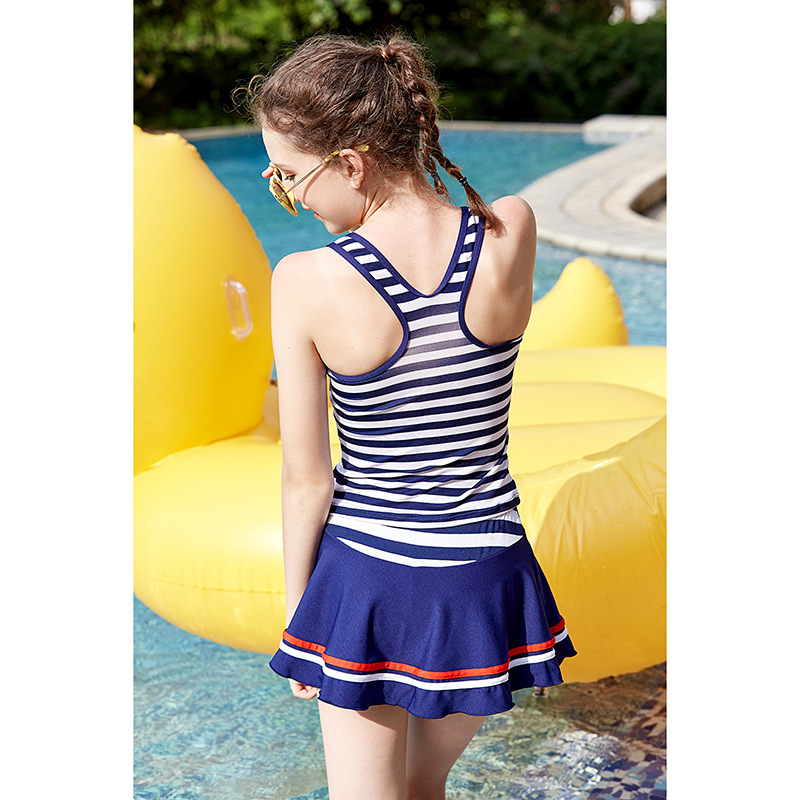 2018 New Style Stripes Split Type Kid's Swimwear Sports Vest Beach Girl's Swimwear