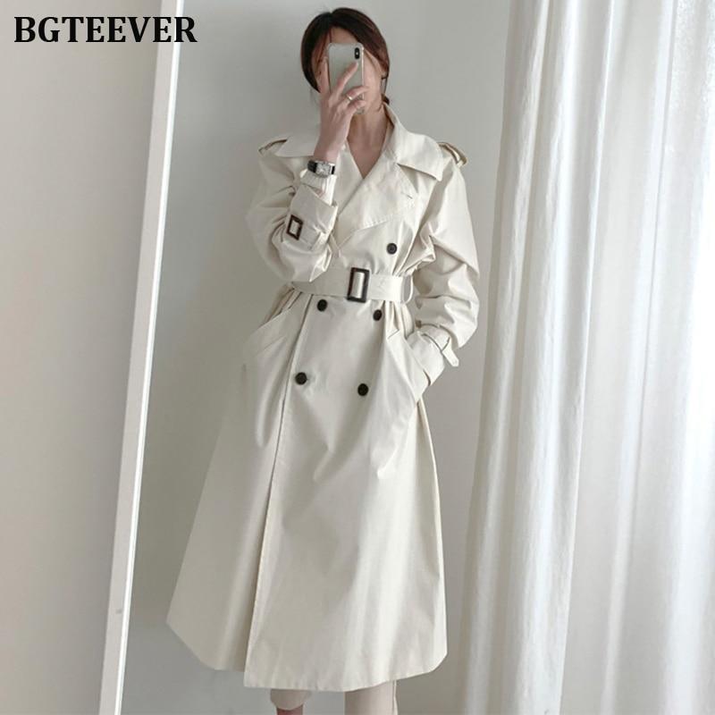 Autumn Winter Women's Coat Korean Windbreaker Female Overcoat Double Breasted Ladies Long Chic Trench Coats Women 2019