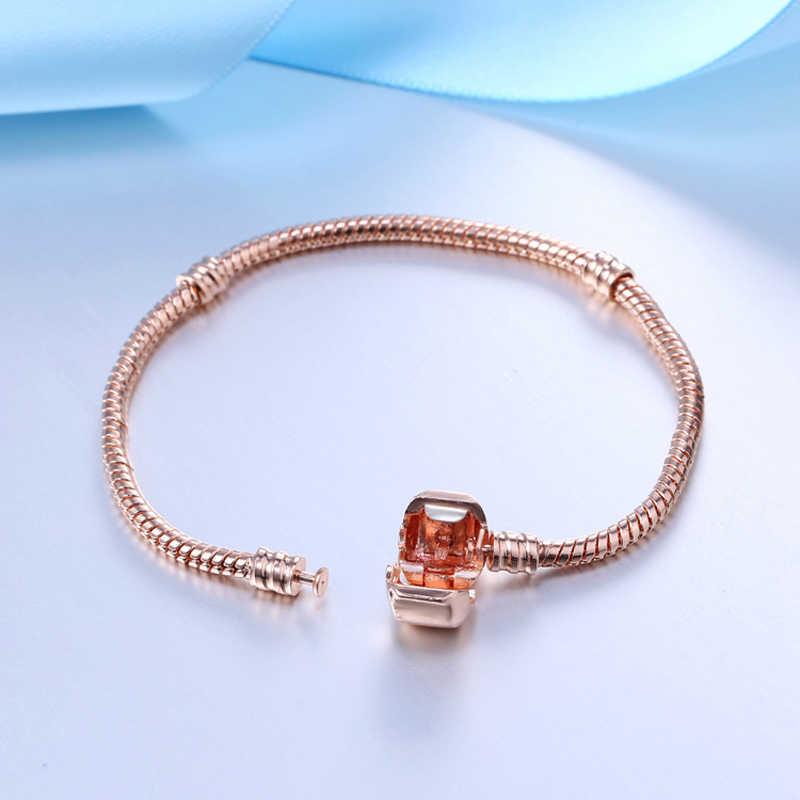 Handgemaakte Originele Fijne Sieraden 925 Sterling Zilver Rose Goud Kleur Bedelarmband Soft Smooth Snake Bone Armbanden Voor Vrouwen