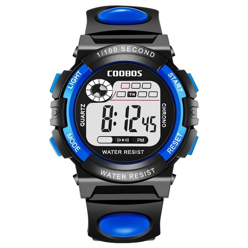 Coolboss School Sports Clock Luminous Children's Wrist Watches Multifunction Digital Alarm Clock Kid Watch Student Hour A3365
