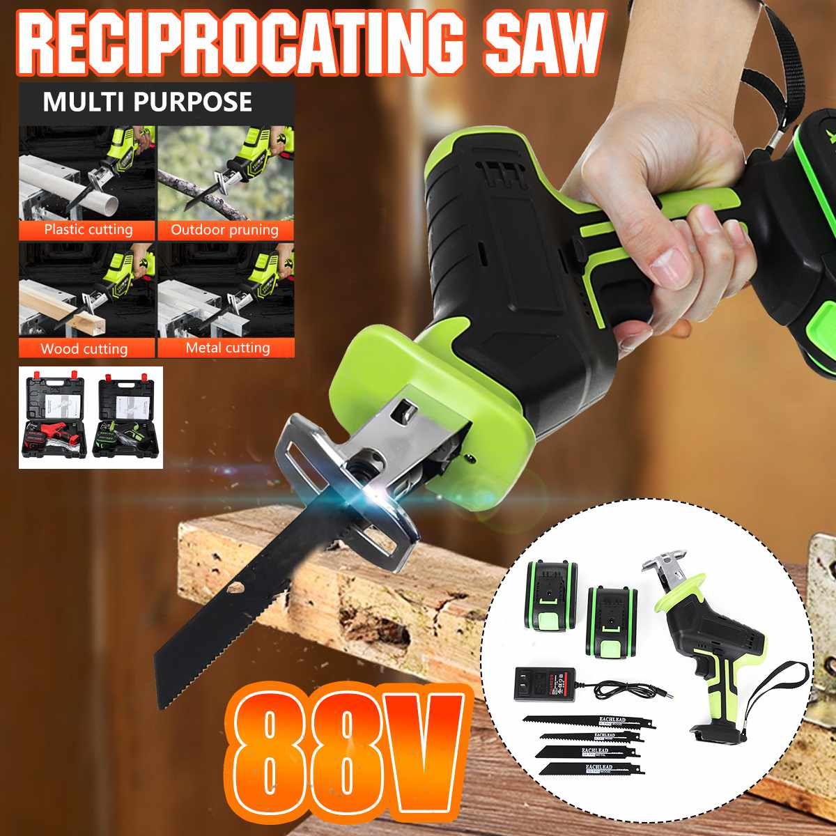 Doersupp 88V Cordless Reciprocating Saw +4 Saw blades Metal Cutting Wood Tool Portable Electric Saw Woodworking Cutters 2Battery