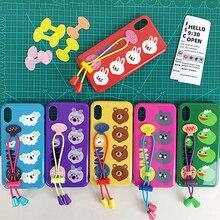 Cute Cartoon Rabbit Bear Wrist Strap Phone Case For iphone 8 XR XS MAX 7 6 plus Soft Silicone Lanyard Anti-fall Back Cover