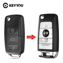 KEYYOU 3 Tecla de botón Shell para VW Golf 4 5 Passat B5 B6 Polo Touran Jetta asiento Skoda Flip coche modificado HU66 hoja remoto caso clave