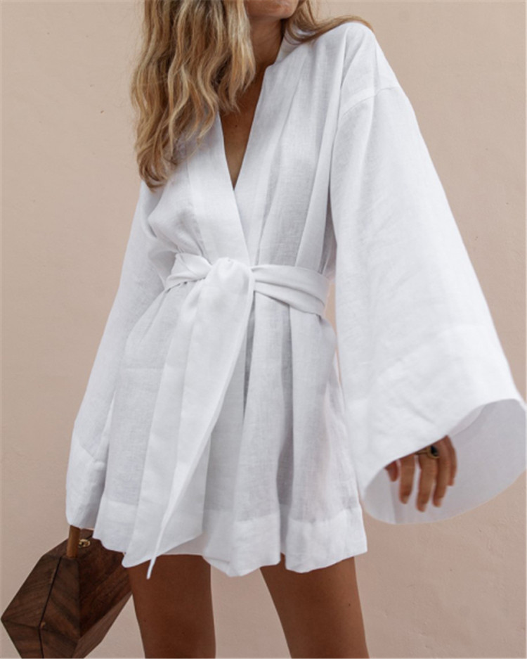 Women's Sexy Lazy Kimono Sleeve Dress 2020 Summer New European And American A-line юбка